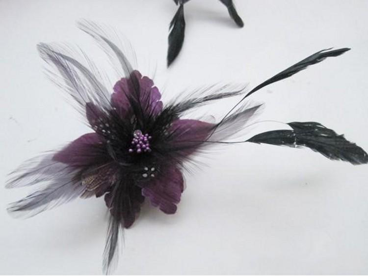 Bridal hair accessories Feather Corsage hairwear headpiece Hair Clips pin Fascinator brooch Flower Corsage Brooch Pin Hair Band 4 color