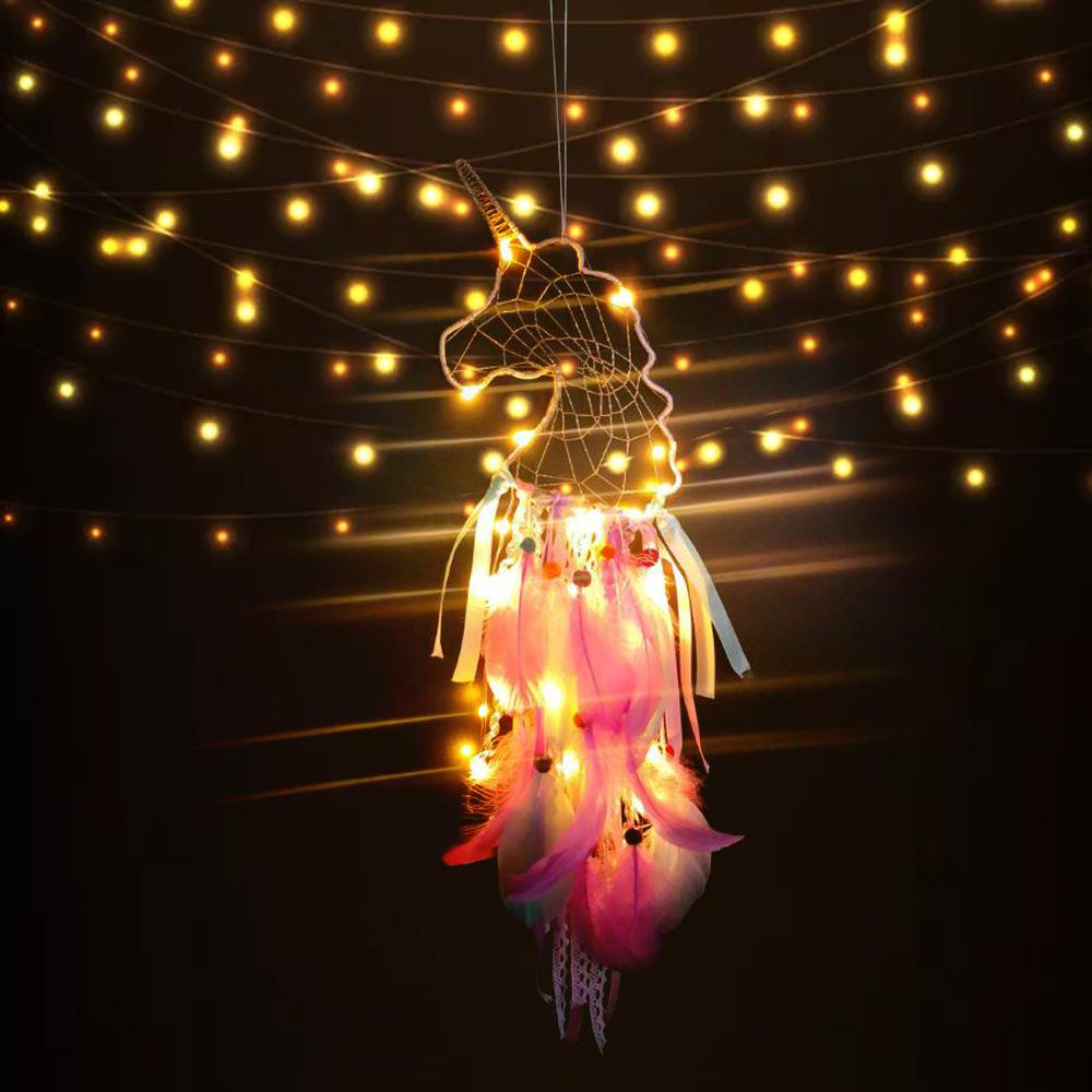 Unicorn Dreamcatcher Pendant LED Wind Chimes Feather Pendant Dream Catcher Creative Car Hanging Craft Wish Gift Novelty Items GGA2159