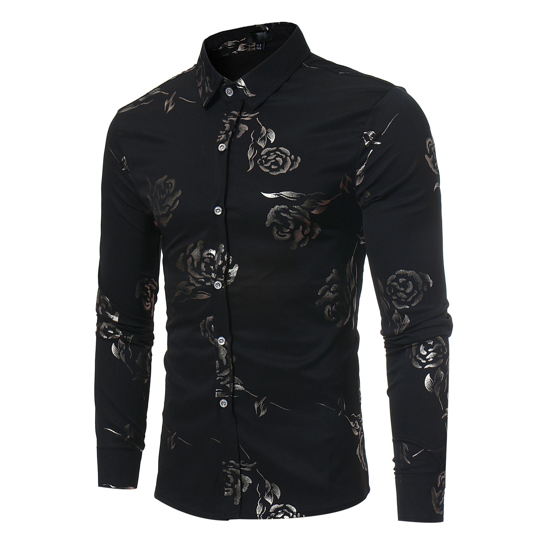 Erkek tasarımcı tişörtleri Sıcak satış kişilik İngiliz Stil Gül Baskı erkek sonbahar ve kış uzun kollu gömlek Avrupa boyutu