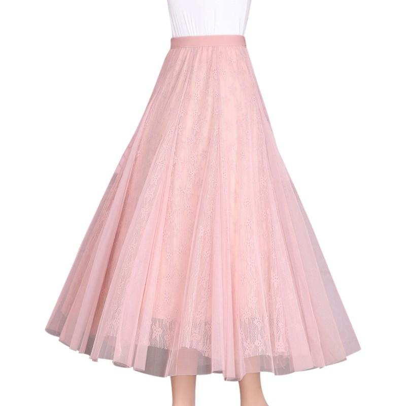 *New 2019 Pleated Mesh Lace Skirts In Fairy Long Veil Fashion Pleated Skirt Women Lace Midi Fairy Mesh Summer Party Vestido*