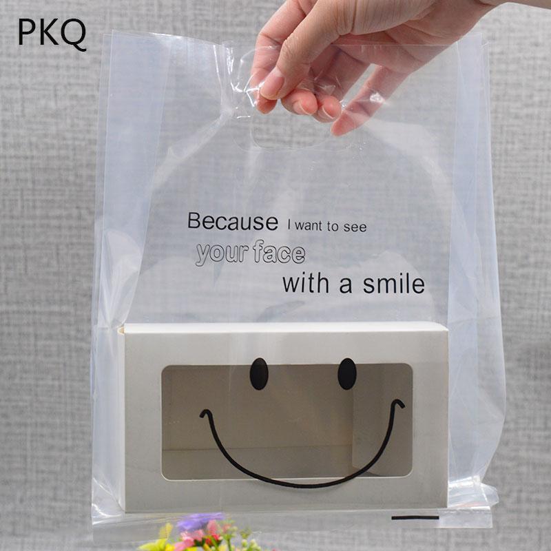 50PCS كيس من البلاستيك الشفاف مع مقابض واضح تغليف هدايا حقائب حقيبة الكوكيز الخبز سوبر ماركت البلاستيك