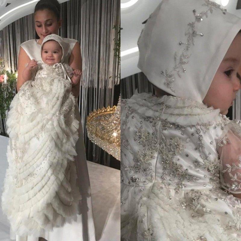 Dubai Kristal Vaftiz Vaftiz Abiye Bebek Kız Boncuk Aplike Katmanlı Ruffles Bonnet Çiçek Kız İlk İletişim Elbise BC2706