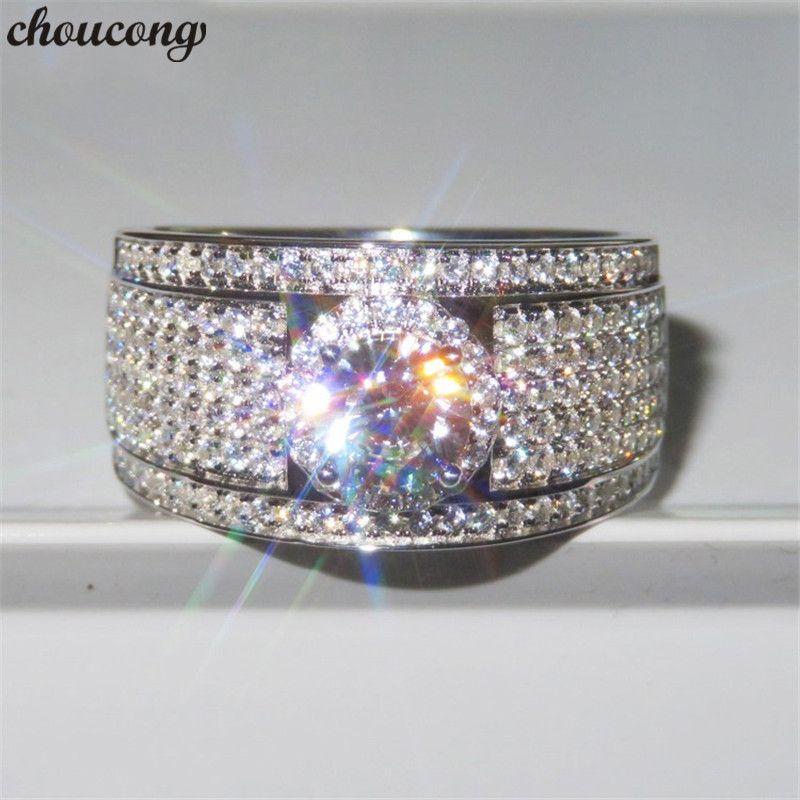 Choucong ослепительно кольцо стерлингового серебра 925 5A Sona cz камень обручальное кольцо кольца для женщин мужчины партия ювелирных изделий подарок