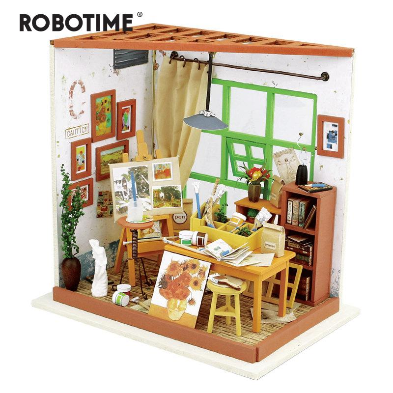Robotime DIY Wooden Cafe Dollhouse with Furniture Miniature LED Handmade Gift