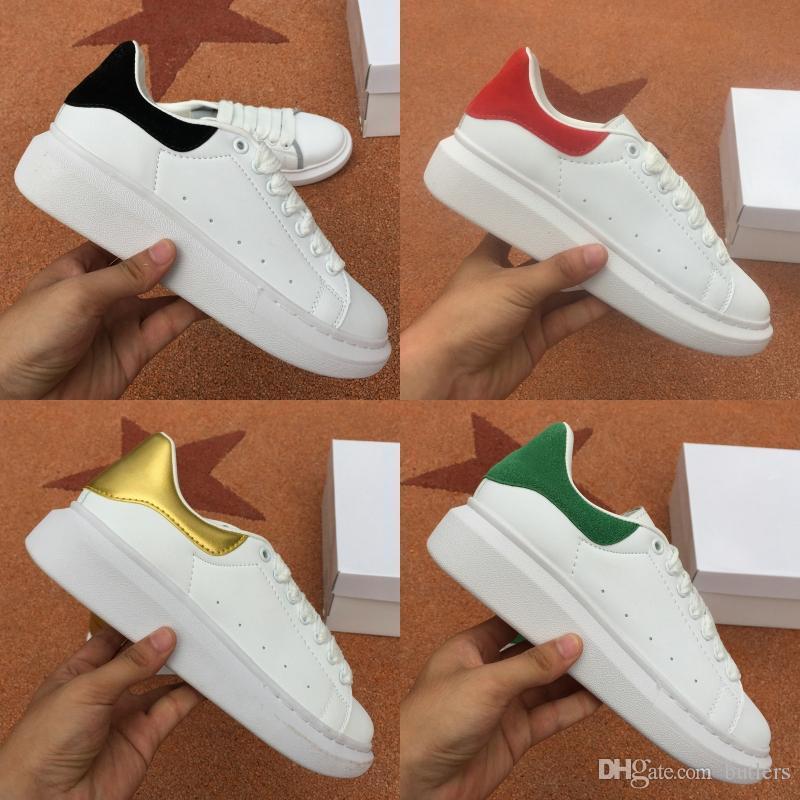 El diseñador de moda de lujo de los hombres mujeres atan para arriba las zapatillas de deporte de láser de piel de terciopelo negro reflectante zapatos casuales Blanco Rojo planas de la plataforma Formadores