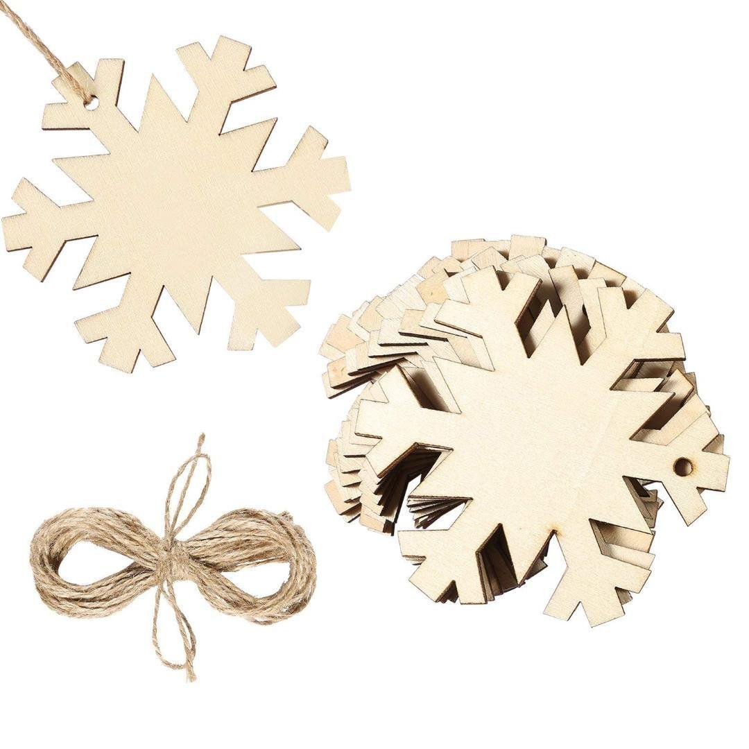 20 Stück Holz-Schneeflocke Weihnachtsbaum Ornamente Hanging mit 20 Stück Crafts Twines