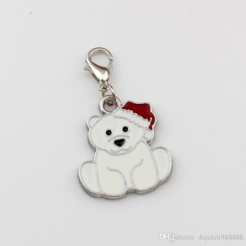 50pcs/lots White Enamel bear Floating Lobster Clasps Charm Beads Fit Charm Bracelet DIY Jewelry 21.2x38.2mm A-521b