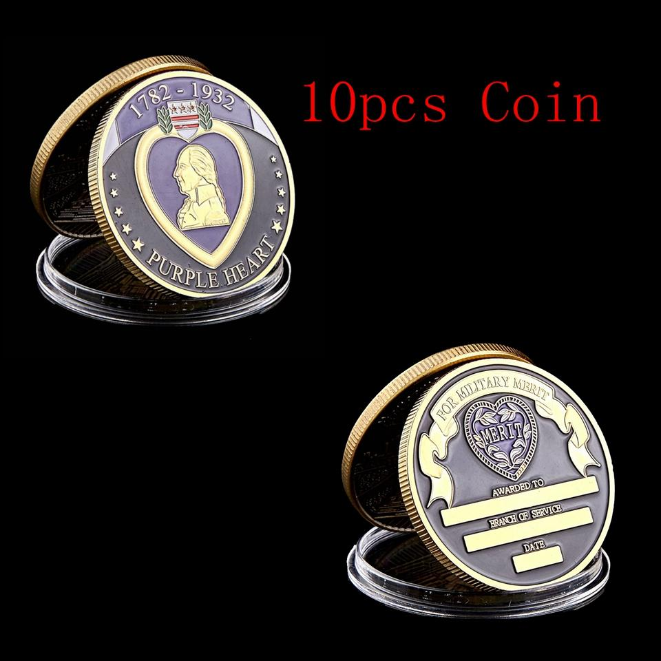 10pcs USA 1782-1932 Purple Heart Reward Superior Military Soldier Medal Gold Plated Challenge Coin Art Collectible Lot