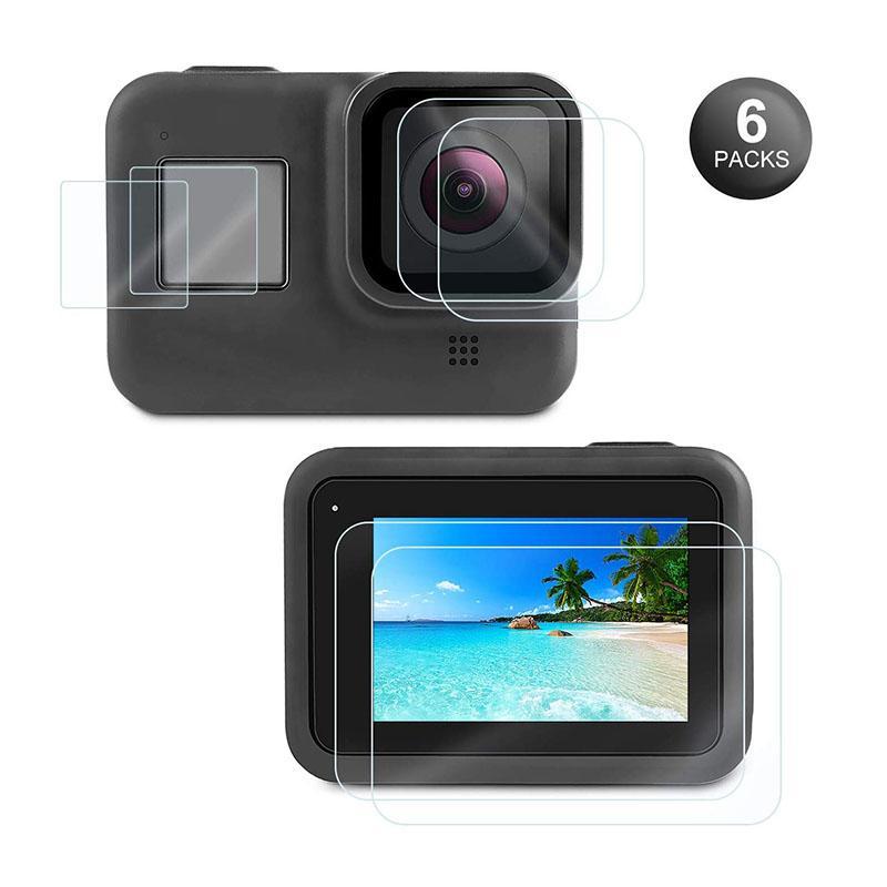 حامي الشاشة لمن GoPro البطل 8 الأسود، الترا الشاشة واضحة خفف من زجاج العرض حامي + عدسة حامي + صغير فيلم + تركيب باك