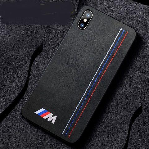Luxo macio virar pele bordado bmw motorsport sport car case para iphone xs max 11 pro max xr x 8 7 6 plus