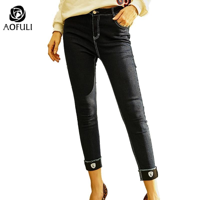 boyut-XL Moda kot kot kadınlar cep pantolon mavi uzun pantolon sıska kot tozluk A3781 fermuar