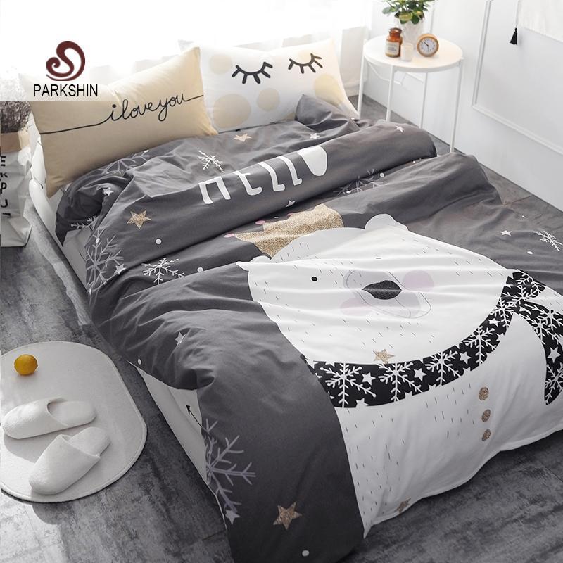 ParkShin Beyaz Ayı Gri Baskılı Yatak Seti Çocuklar Yatak Örtüsü nevresim Düz Levha Ile sevimli 100% Coon Yatak Seti 4 Adet