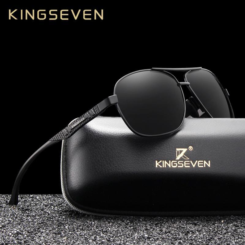 KINGSEVEN 2019 رجال العلامة التجارية الألومنيوم النظارات الشمسية المستقطبة UV400 مرآة ذكر نظارات شمسية النساء للرجال Oculos دي سول T191230