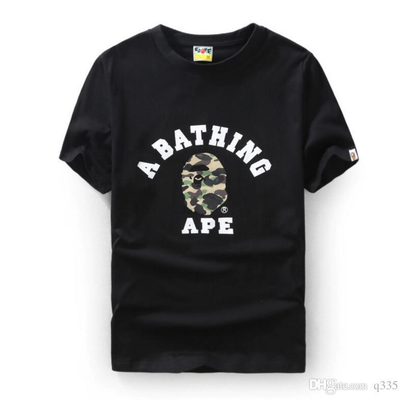 2020 Moda Mens banho macaco macaco camiseta impressão de alta qualidade T shirt da forma das mulheres dos homens de Hip Hop Tee
