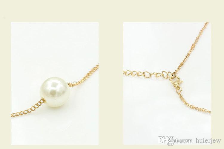 Collar de cadena Al por mayor Marca Collares de perlas Moda Bellamente Vintage Elegante Encanto Simple Generoso Simulado Colgantes de perlas Collares