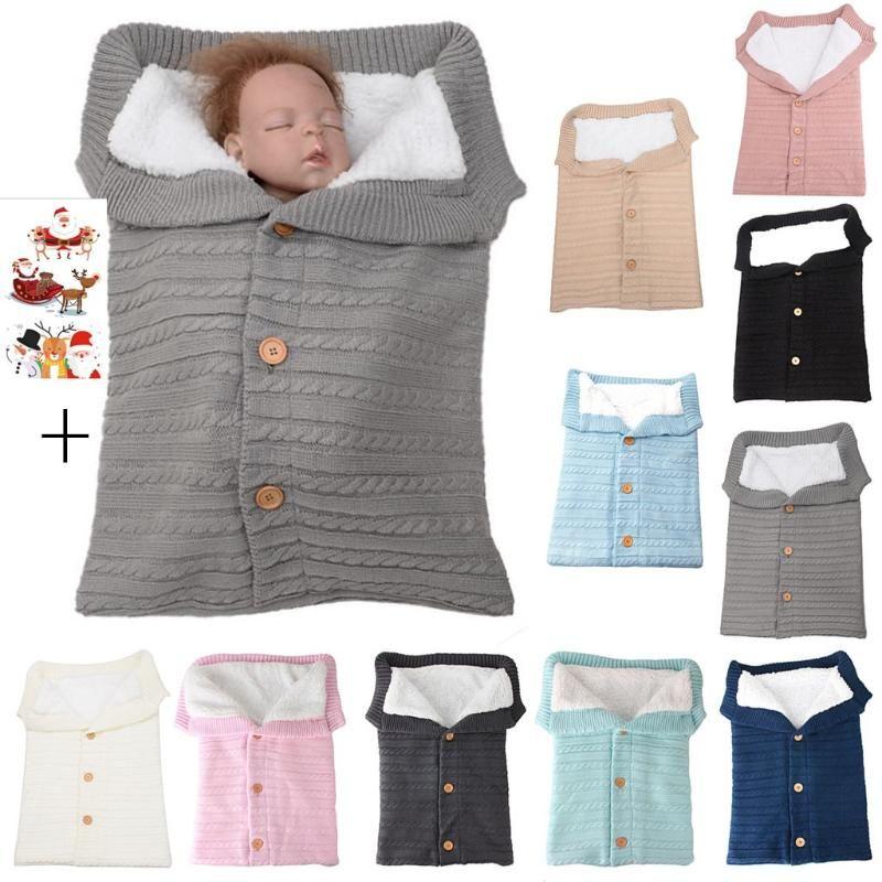 Newborn Baby Winter Warm Sleeping Bags Infant Button Knit Swaddle Wrap Swaddling Stroller Wrap Toddler Blanket