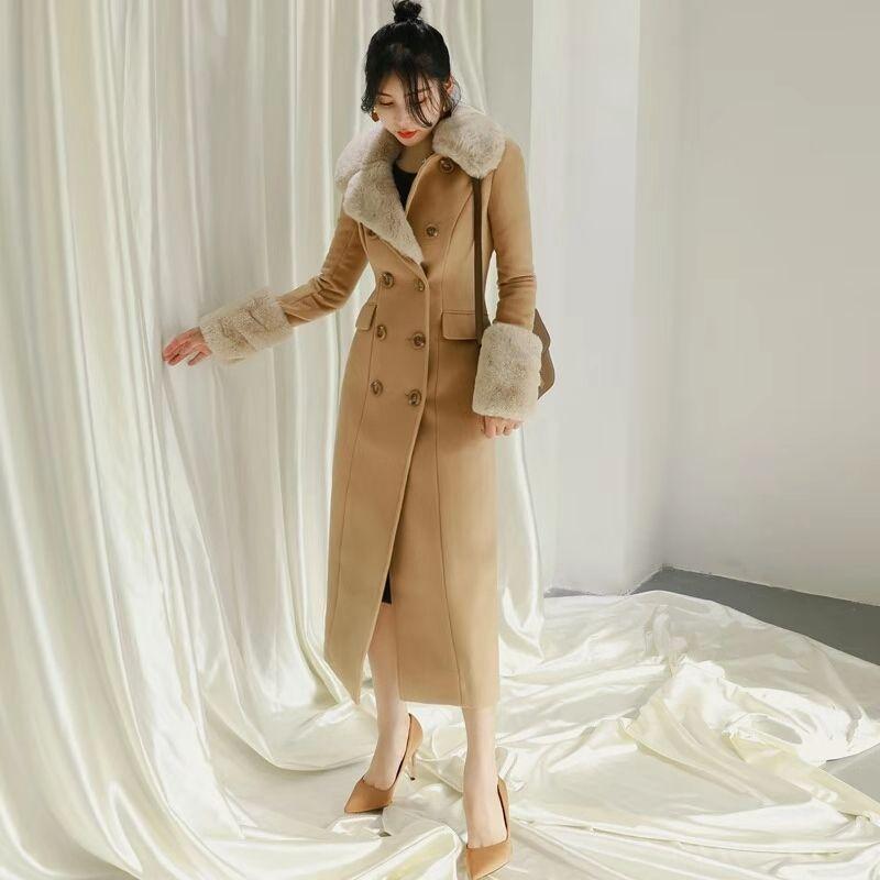 kadınlar kış yün ceket lüks tasarımcı taklit kürk mont uzun siper ceket yüksek bel ingiliz tarzı yünlü ceketler gf hediye boyutu SML womens
