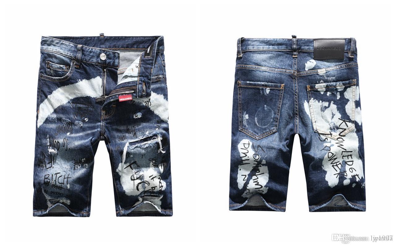 2019 nuovi uomini di marca dei jeans di alta qualità pantaloncini magro del denim di modo strappati pantaloncini jeans da uomo jeans firmati