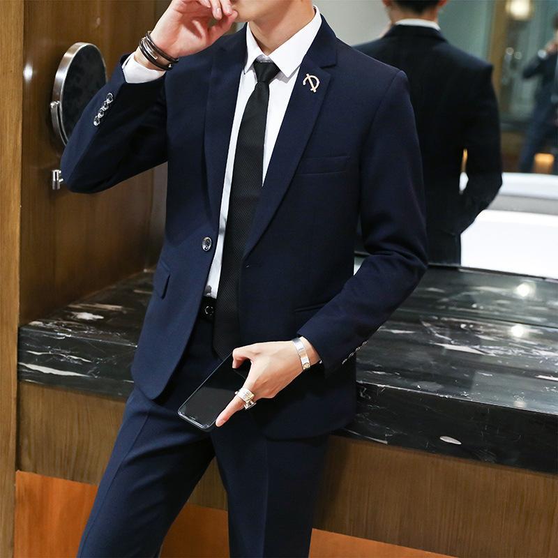 Мужские костюмы Set Мужских корейского стиль Slim Fit Малого костюм из двух частей набора бизнеса досуг костюмов для мужчин брака официально платья