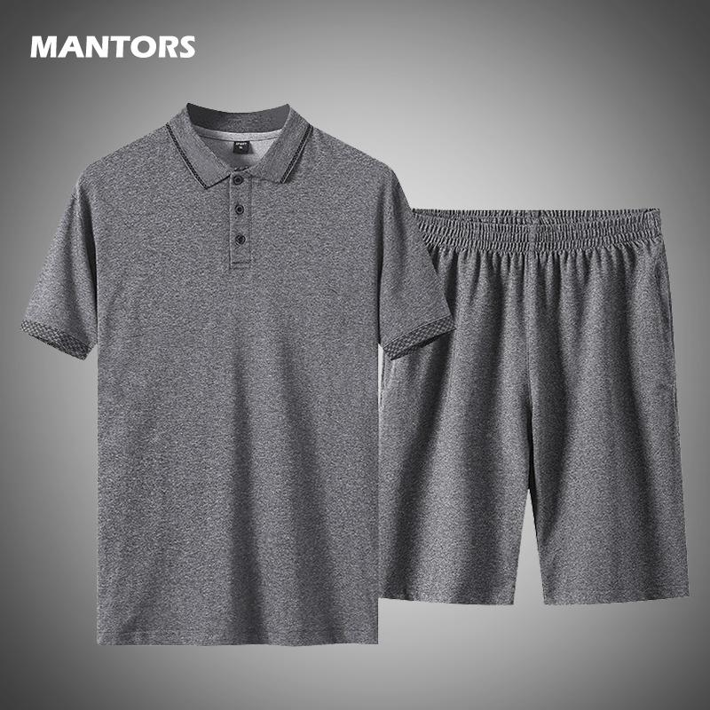Casual Hombres Conjunto Polo de dos piezas Set 2020 Traje del chándal de algodón de deporte de la camiseta + pantalón corto pista masculino del verano del tamaño grande 5XL T200606