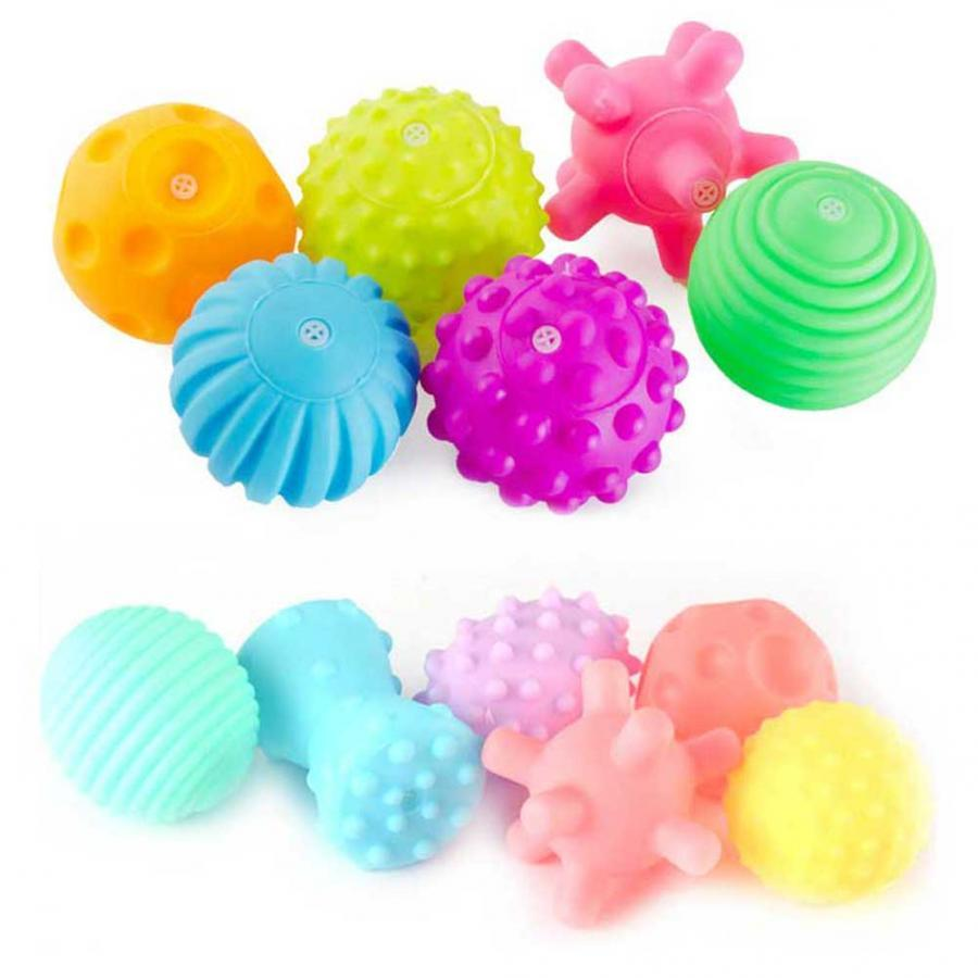 6Pcs/set Baby Textured Touch Hand Toys Infant Training Massage Soft Rubber Teether Ball Tactile Pinch Bath Stress Balls