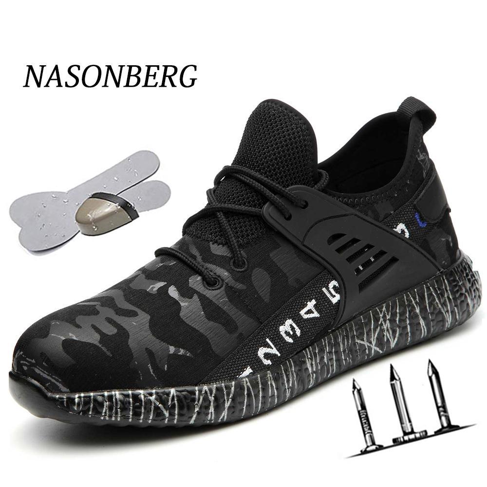 NASONBERG Indestructible Ryder Trabalho toe sapatos homens de aço Air Safety Botas prova de punção sapatos de trabalho Sneakers respirável segurança