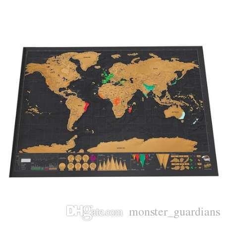 Deluxe Cancella Mappa del mondo nero Gratta e vinci Mappa del mondo Scratch personalizzato da viaggio per gli adesivi murali della stanza