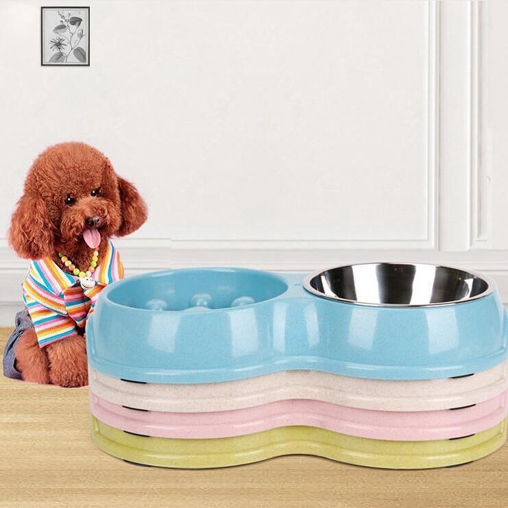 Palha de trigo duplo bacia Feeder bacia Dog Pet alimentação Colher Comida Saudável Feeder prato do cão Alimentando Suprimentos frete grátis grosso LXL1202-L1