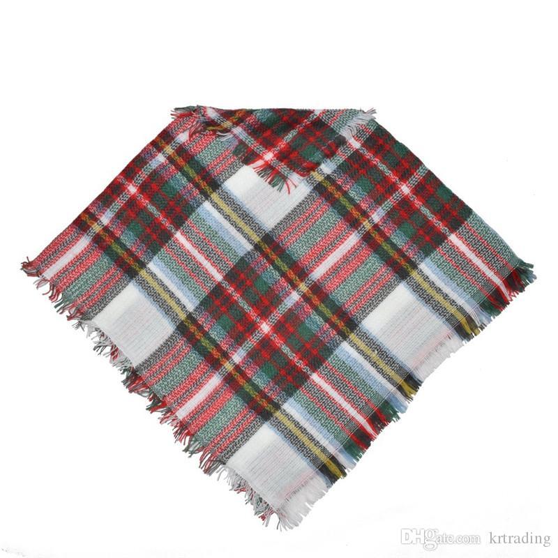 Bebés Meninas à moda pullover Manto 50x50cm 5 cores mantas bonito imitado cachecol de caxemira borlas padrão axadrezado moda Poncho para 2-5T