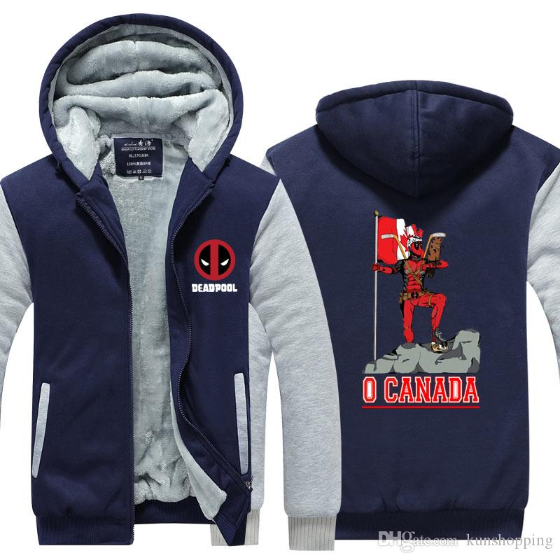 Deadpool Coat O Canada Кашемир Hoodie пальто хлопка зимы сгущает флис Толстовка на молнии капюшоном кардиган пальто Спортивная куртка US EU Размер