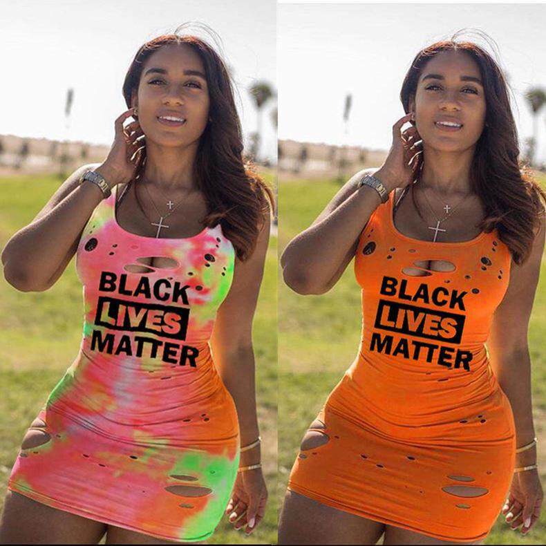 여성 중공 아웃 점프 수트 스커트 여름 편지 인쇄용 드레스 디자이너 T 셔츠 민소매 조끼 드레스 클럽 섹시 캐주얼 여성 의류 Cy838