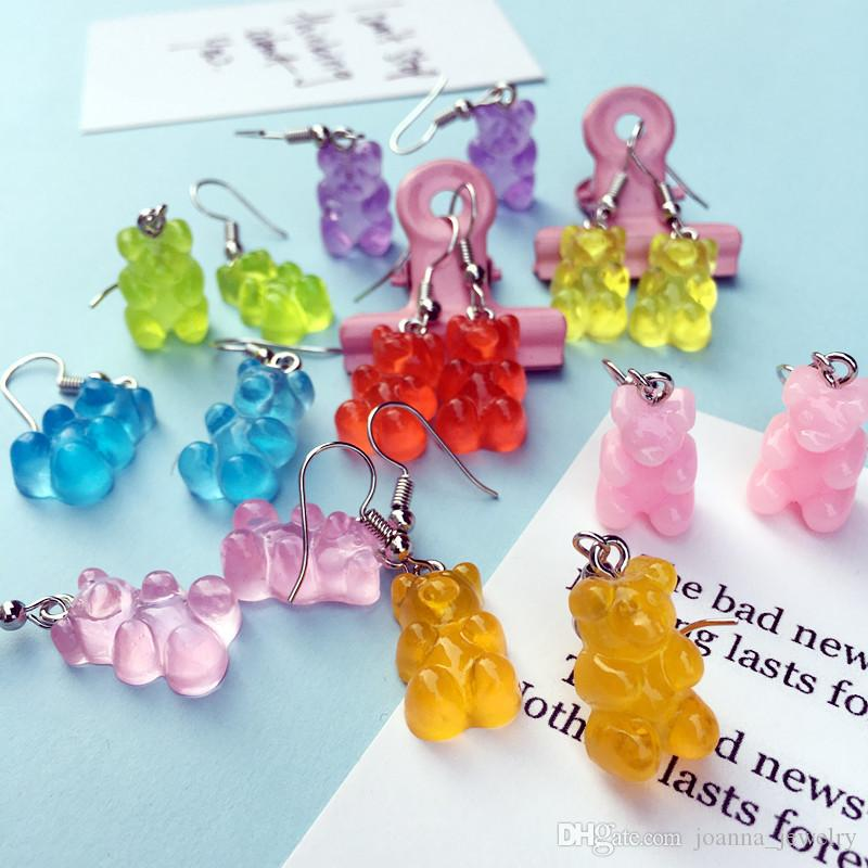 Sweet Cartoon Bear Stud Dangle Earring Resin Colorful Candy Color Lovely Animal Earrings For Women Girl Funny Party Jewelry Gift
