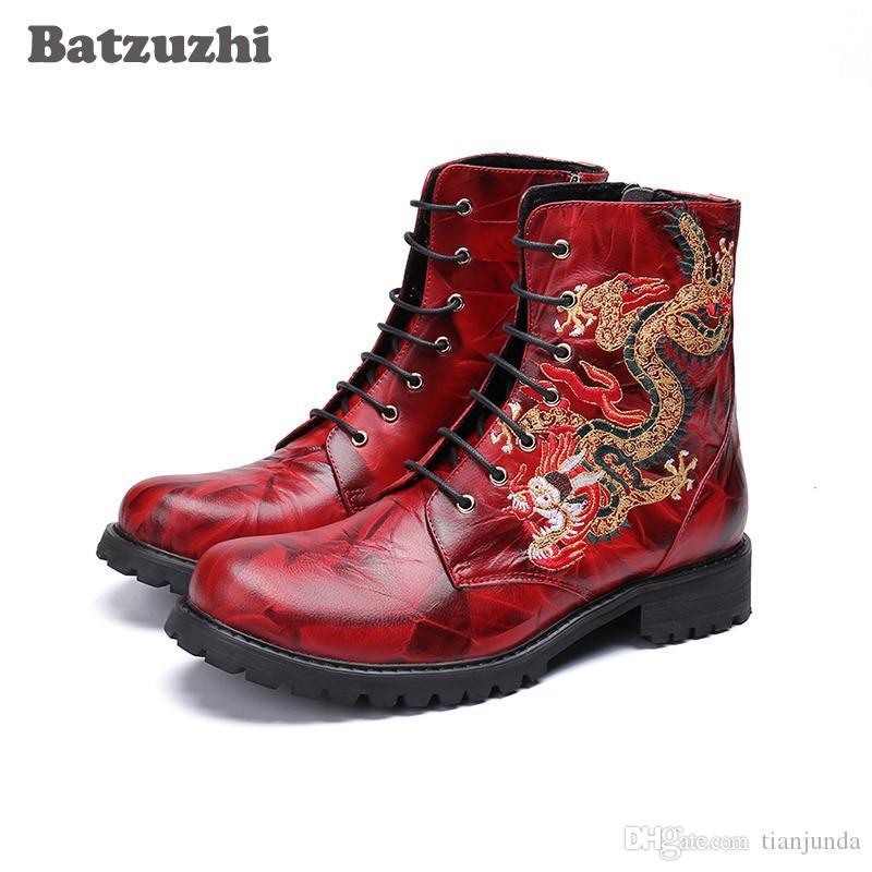 Batzuzhi Cool Stivali Uomo Lace-up in vera pelle caviglia Stivali da moto da uomo Biker Combat Botas Hombre Nero o Nero, Big Size 46