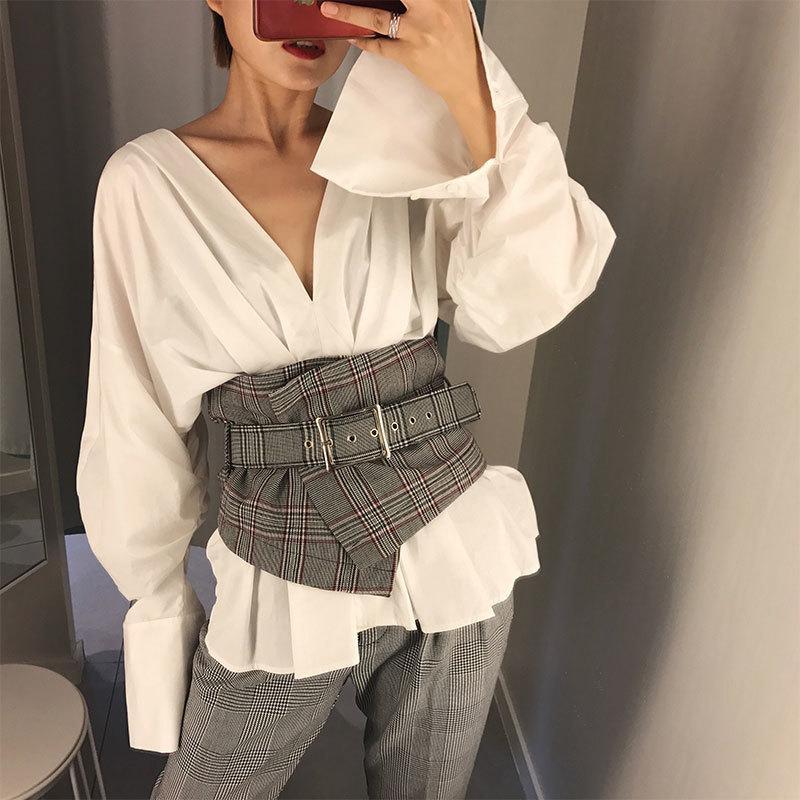 Fashion Ladies Vintage Check Style Waist Super Wide Fabric Adjustable Shirt Slimming Corset Cummerbund Girdle Belt Women C19010301