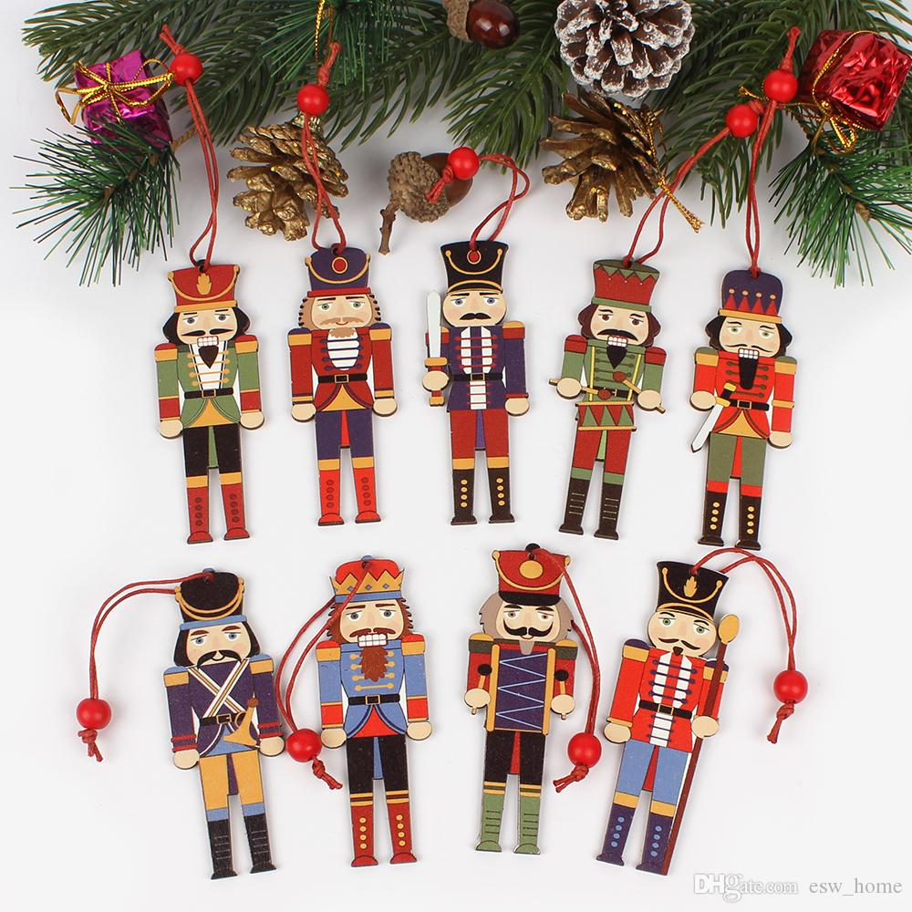 Christmas Natural Wood Christmas Tree Ornaments Nutcracker