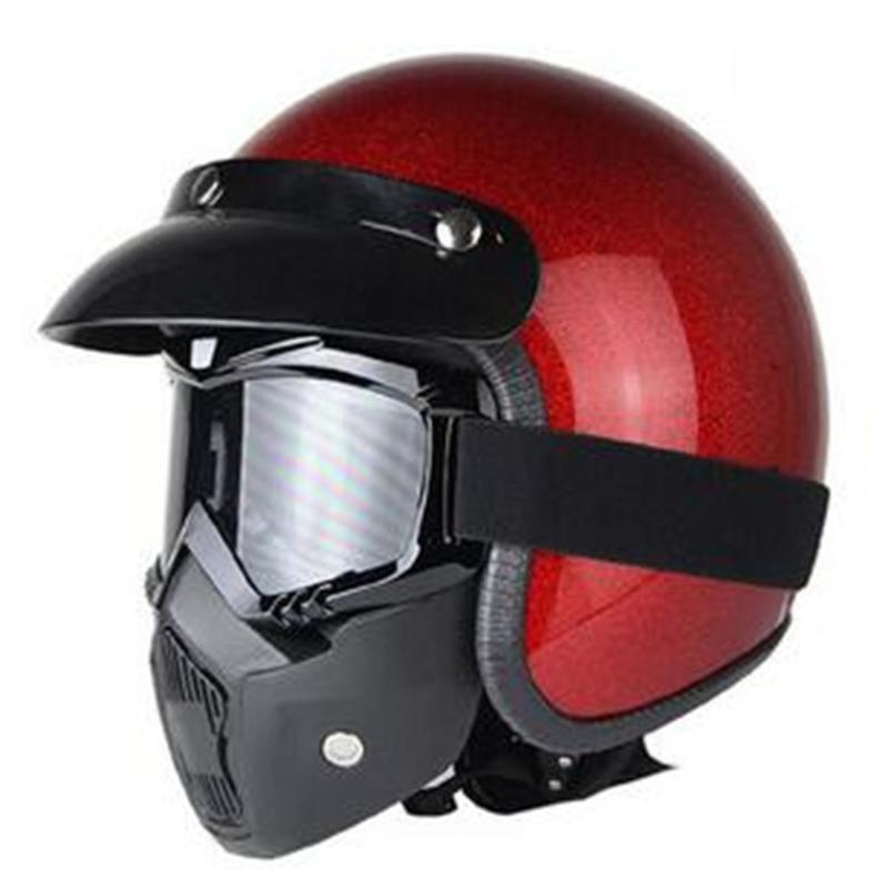 Unisex Vintage Motorcycle Helmets Open Face Half Motorbike Helmet Capacete free shipping S M L XL XXL size red shine color