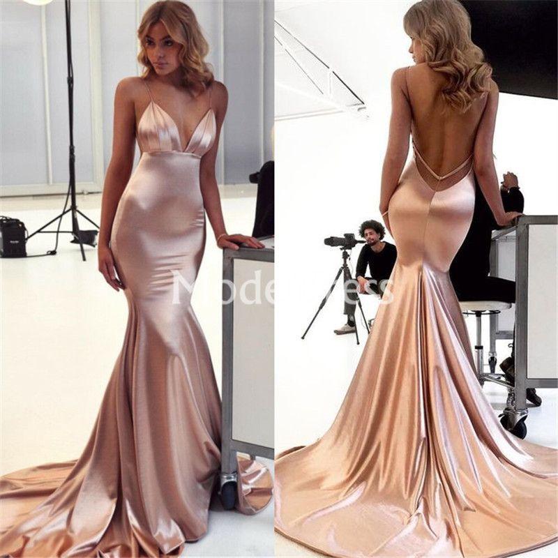 Sexy Mermaid Evening Dresses Spaghetti Strap Backless Sweep Train Solid Modern Formal Party Prom Gowns Stylish Hot Vestidos De Fiesta Custom
