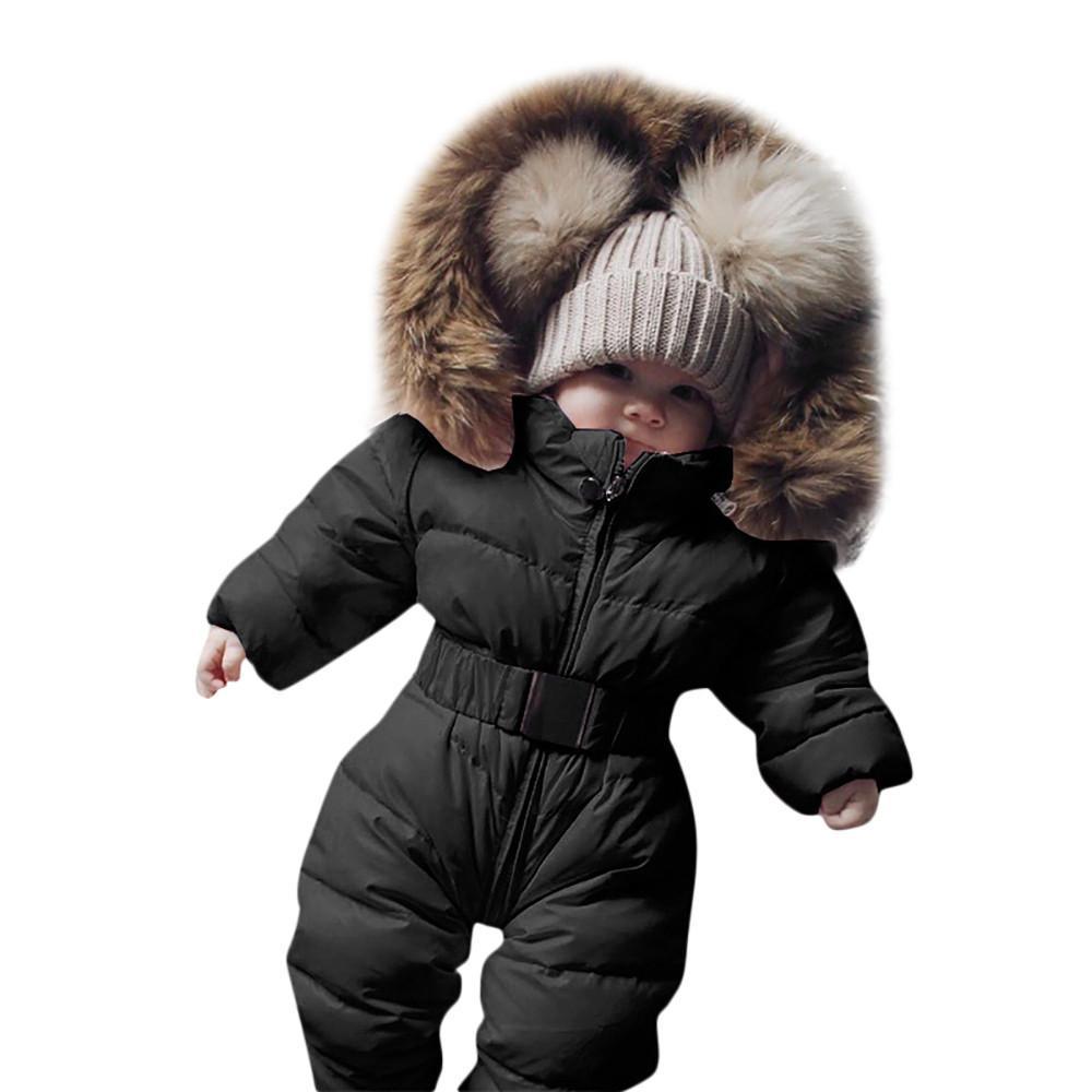 Inverno Infantil Baby Boy Girl Romper Jaqueta Com Capuz Macacão Quente Grosso Casaco Outfit