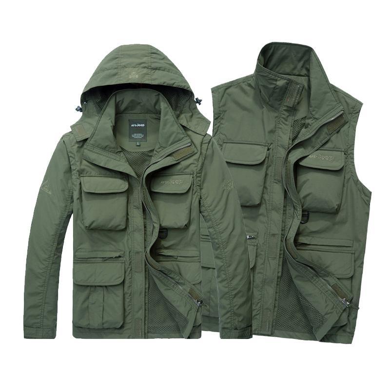 Men Tactical Jacket Autumn Quick Dry 2-in-1 Vest Army Coat Multi Pockets Hooded Windbreaker Waterproof Clothing 3XL 4XL