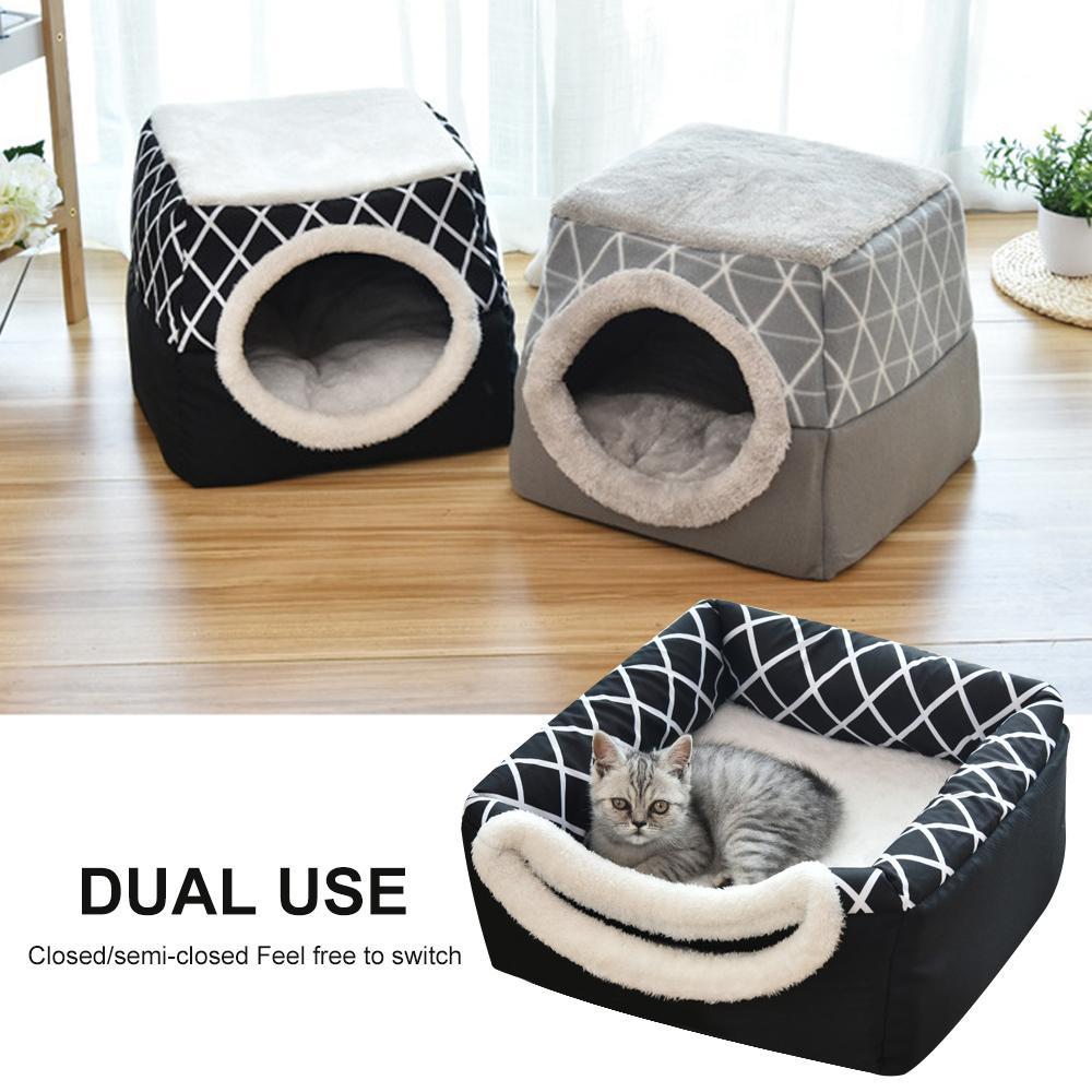 Mat Pad Nest Kennel Pet Sleeping Kış Kedi Köpek Yatak Ev Yumuşak Sıcak Hayvan Köpek Mağarası Katlanabilir Moda Pet Kapsülü Malzemeleri