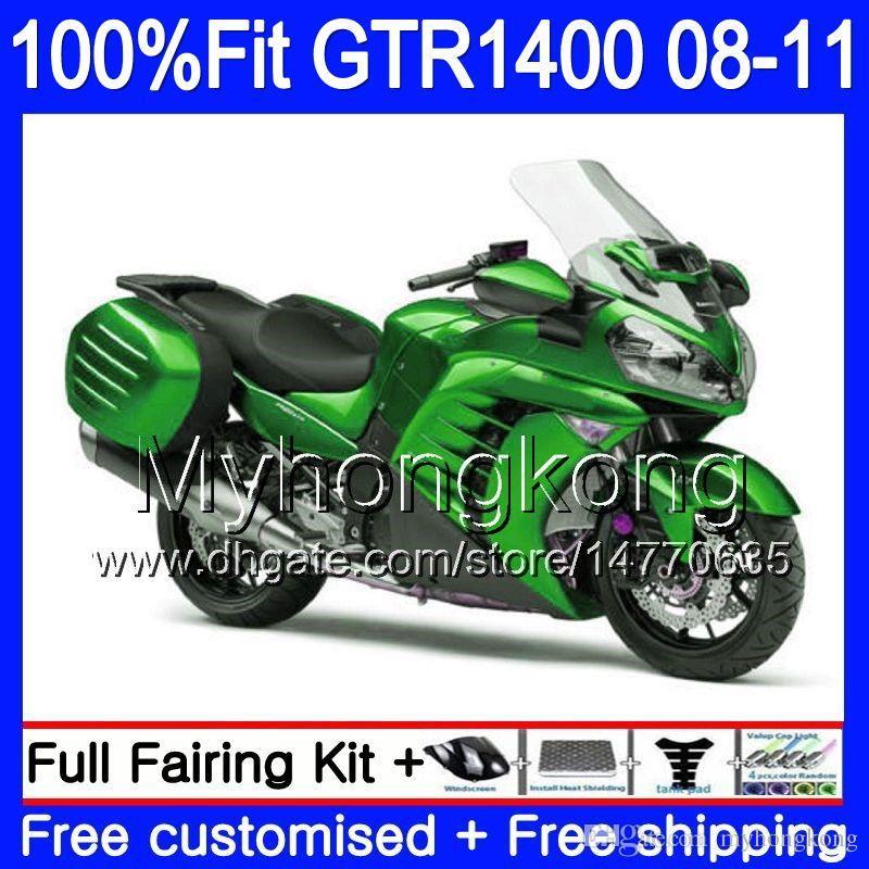 Injectie Mold Lichaam voor Kawasaki GTR1400 08 09 10 11 255HM.0 GTR-1400 08 11 GTR 1400 2009 2009 2010 2011 Verkortingskit hete glanzende groen