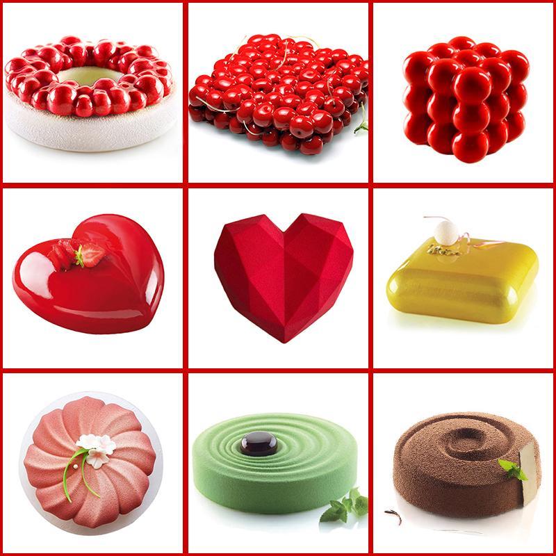 Décoration de gâteau moule en silicone 3D Outils Moules de cuisson pour gâteaux ronds Coeur chocolat Brownie Mousse Dessert Faire Pan