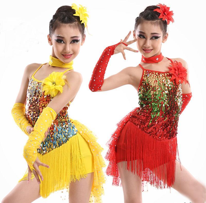 Dança lantejoulas Stage Tassel Competição de Dança Latina Vestido para Girls Dress Ginástica prática da menina Dancewear Crianças