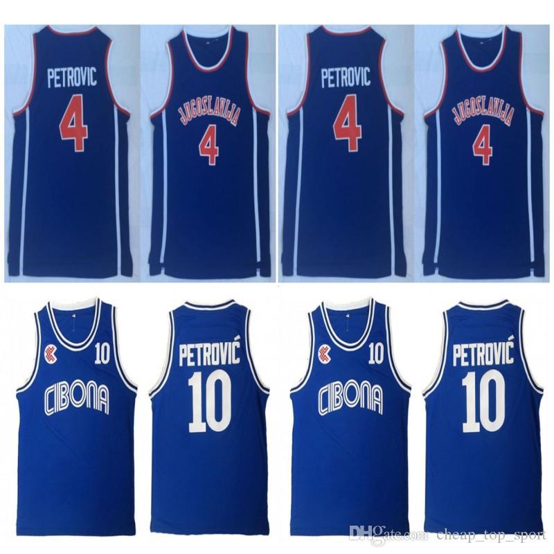 Mens Vintage Croatia # 10 Cibona Drazen Petrovic camisetas de baloncesto Baratas Drazen Petrovic # 4 Jugoslavija Yugoslavia Croacia cosida camisetas