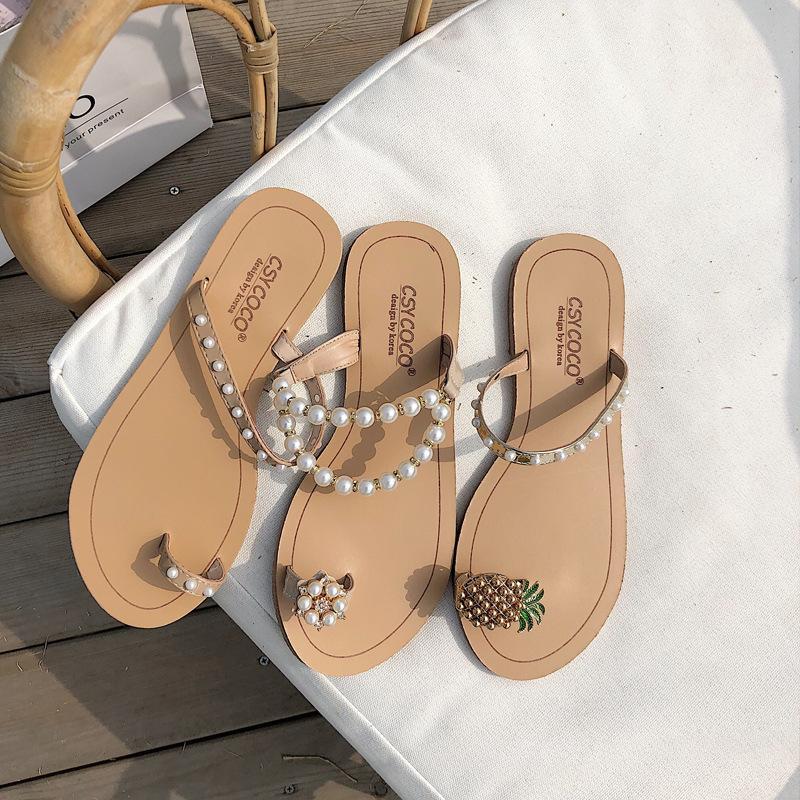 Pretty2019 pantoufle plate plate perle bout deux vêtements chaussures pour femmes