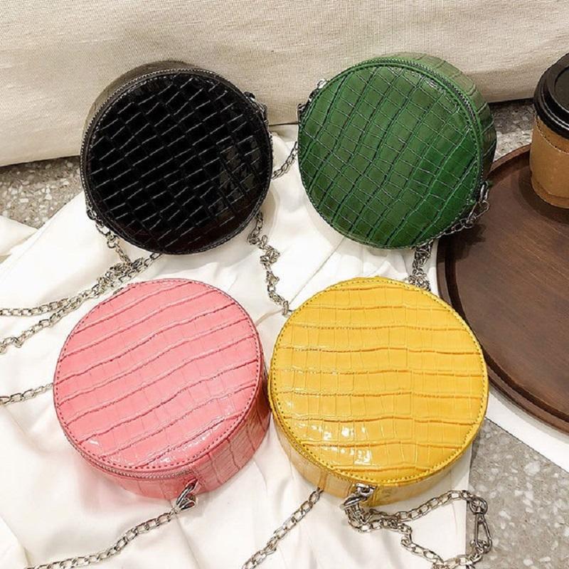 Женщины 2019 Новый камень шаблон PU кожа круглый Crossbody сумки Круг Малые цепи Кошельки и сумки на ремне партии Сумка