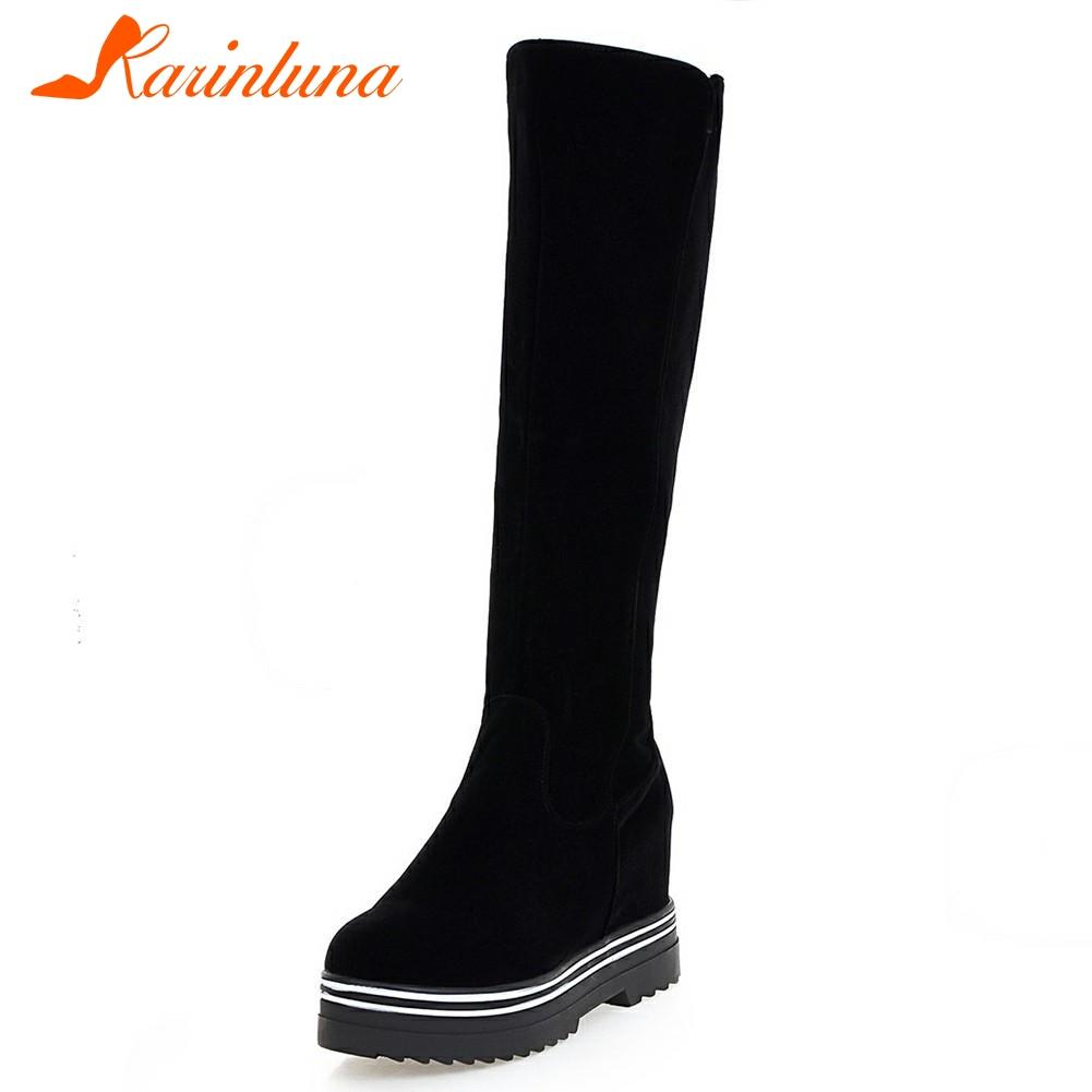 KARIN New Solid Round Toe Top Quality Increasing Platform Shoes Woman Casual Winter Boots Black Big Size 34-43