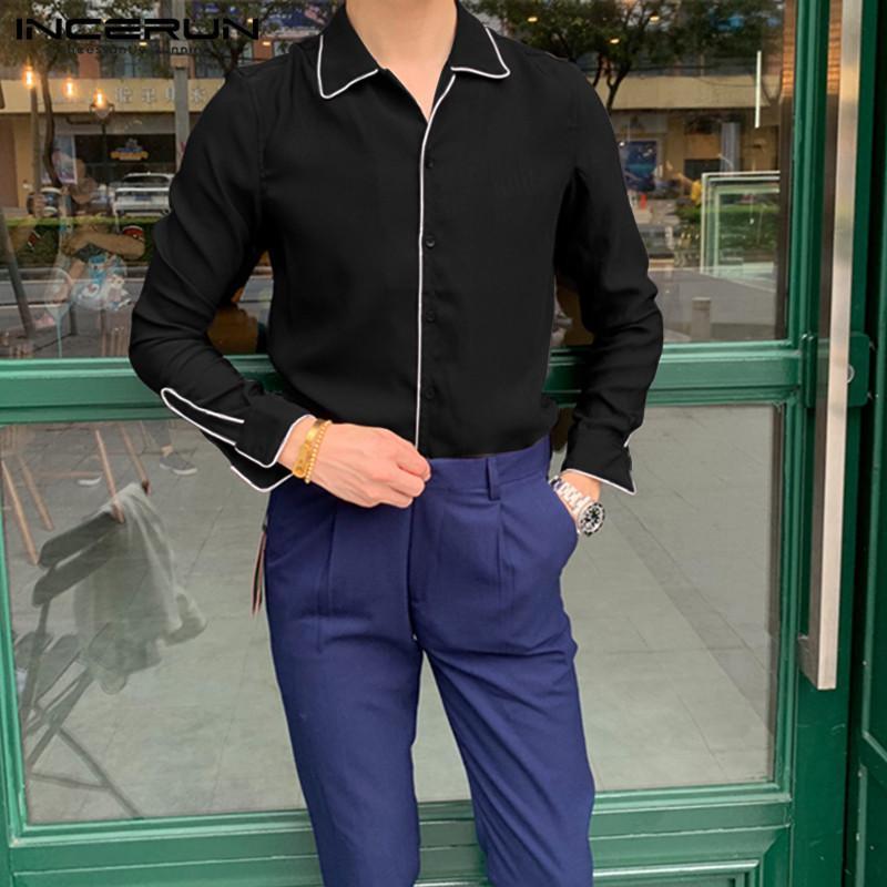 2020 Camicie maniche lunghe Uomini risvolto stile coreano colore solido Camicia Uomo Lucido Night Club camicetta parti superiori allentate casuali Plus Size