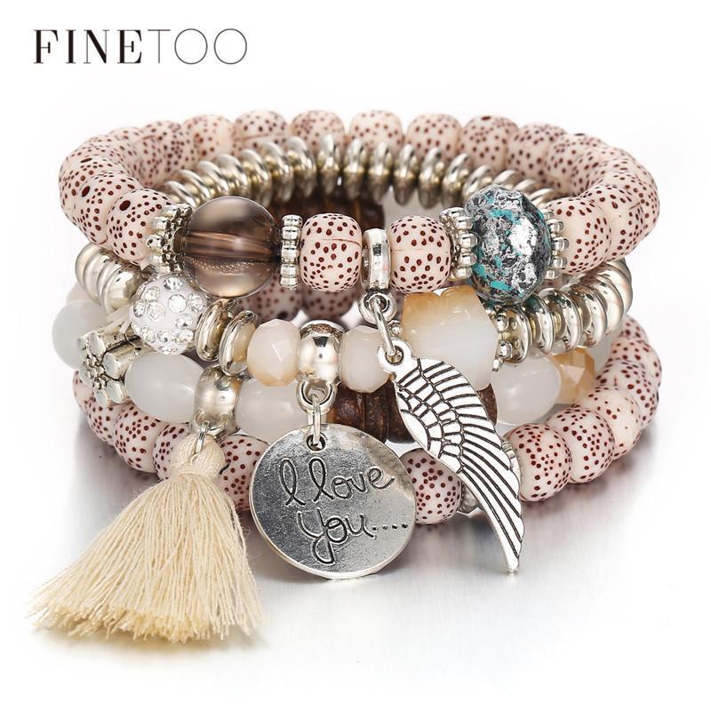 Boho Multilayer Crystal Bracelet Natural Stone Bangle Women Wrist Jewellery Set