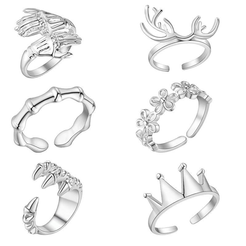 6 стилей олень Корона цветок обручальные кольца 2018 Новый 925 посеребренная женщина кольца Бесплатная доставка